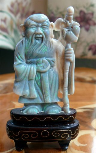 Finely Carved Chinese Opal Figure Of Elder Or Scholar With Staff On Stand photo