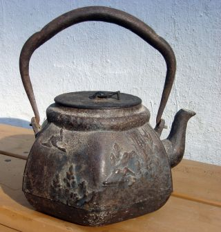 Antique Asian Japanese Chinese Iron Pre 1800s Tetsubin Teapot photo