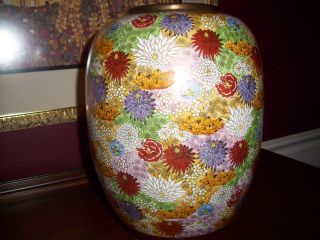 Antique Meiji Japanese Satsuma Millefleur / Million Flower Vase 12 1/2 Inches photo