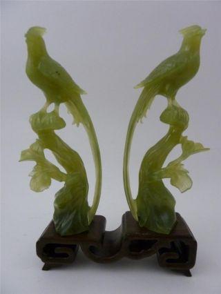 Antique Vintage Chinese Green Jade Serpentine Bird Statues On Stand photo