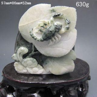 100% Natural Chinese Dushan Jade Hand - Carved Statue - - Scorpion Nr/bg2345 photo