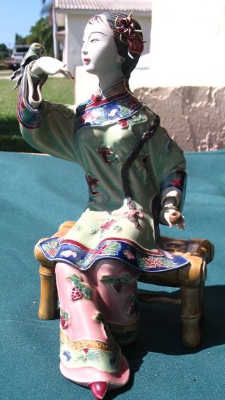 Fancy Oriental Chinese Seated Lady Pottery Figures Statues Signed 29.  95 N/r photo