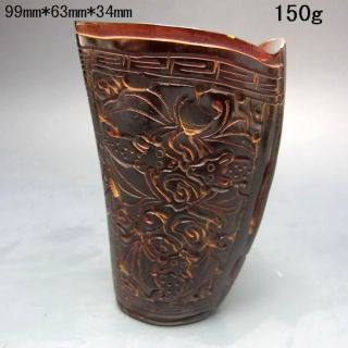 Old Antiques Chinese 100% Ox Horn Hand Carved Bat Jiao Cup Nr/pc2401 photo