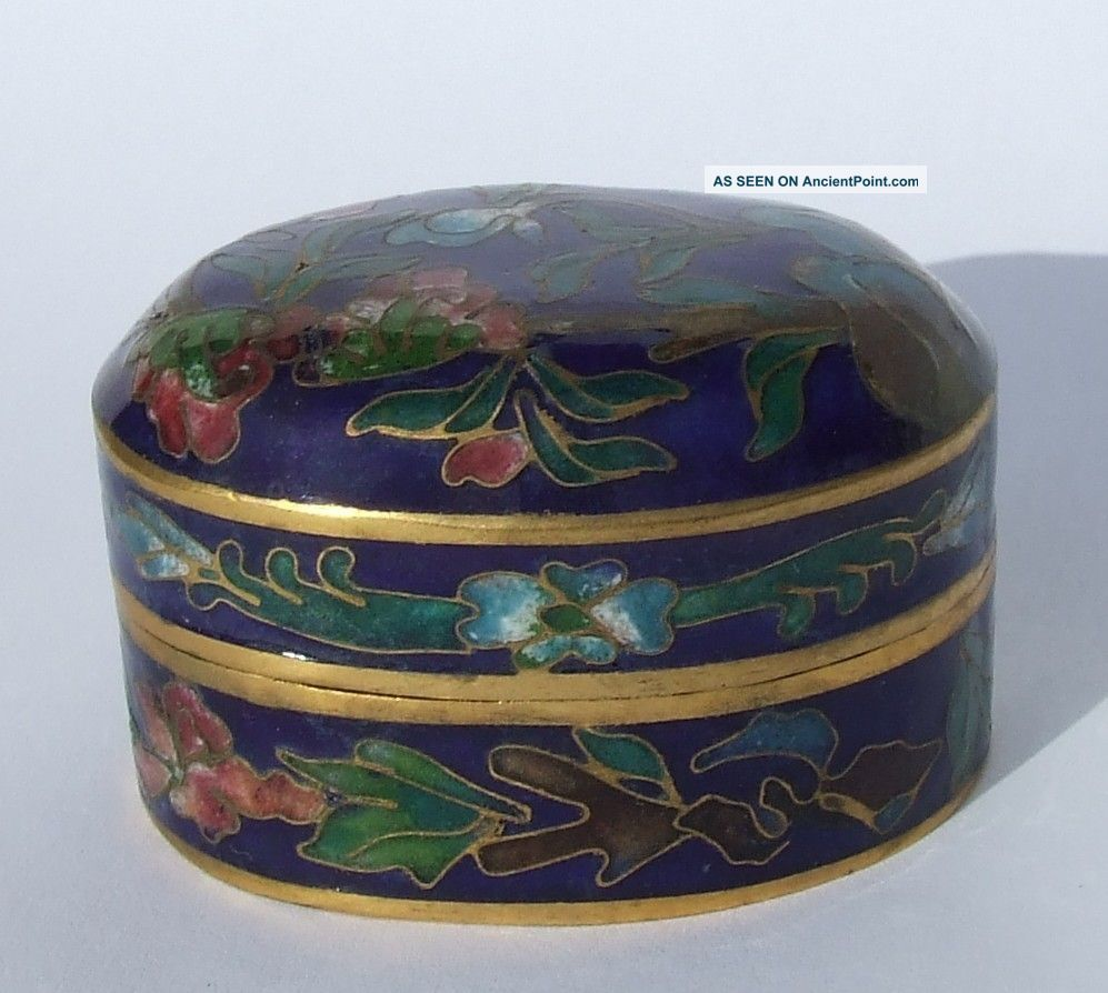 Vintage Mid 20th Century Chinese Cloisonne Enamel Oval Pill Box Cloisonne photo