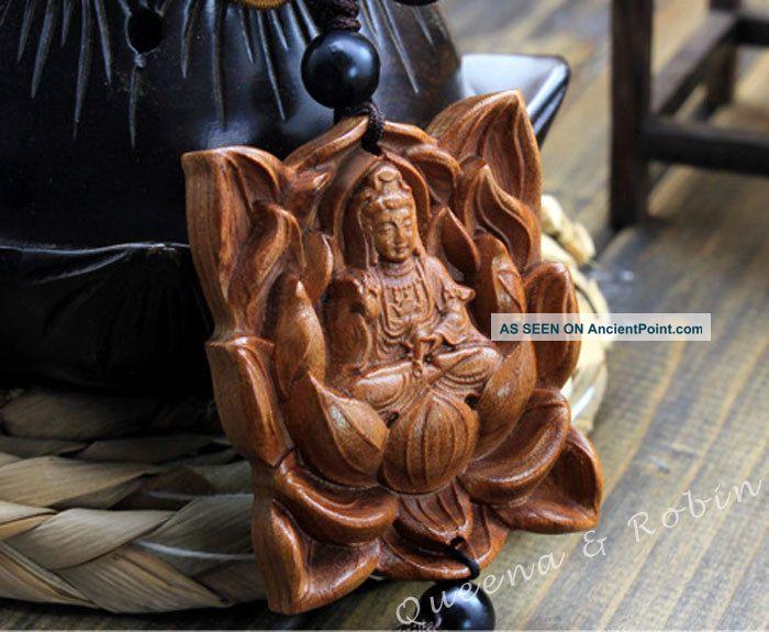 Chinese Peach Wood Carved Buddha Kwan - Yin Statue Amulet Car Decor Pendant Gyi Buddha photo