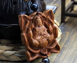 Chinese Peach Wood Carved Buddha Kwan - Yin Statue Amulet Car Decor Pendant Gyi photo