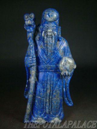 Old Chinese Lapis Lazuli Stone Statue God Of Longevity W/ Peach & Walking Stick photo