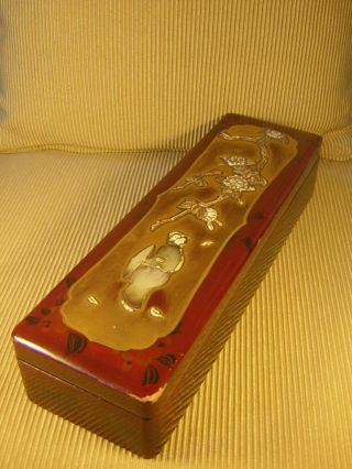 Chinese Lacquer Wood Box Mother Pearl & Bone 11 Inches Long Very Good Condition photo