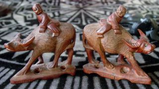 Rare Pair Chinese Carved Wood Statues Of Water Buffalo & Children photo