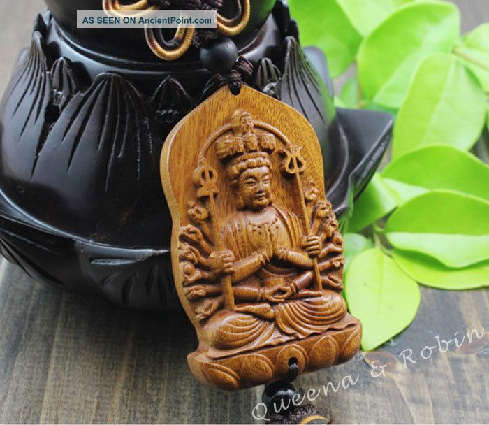 Chinese Peach Wood Carved Thousand Hand Kwan - Yin Statue Amulet Car Decor Gyj Buddha photo