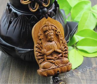 Chinese Peach Wood Carved Thousand Hand Kwan - Yin Statue Amulet Car Decor Gyj photo