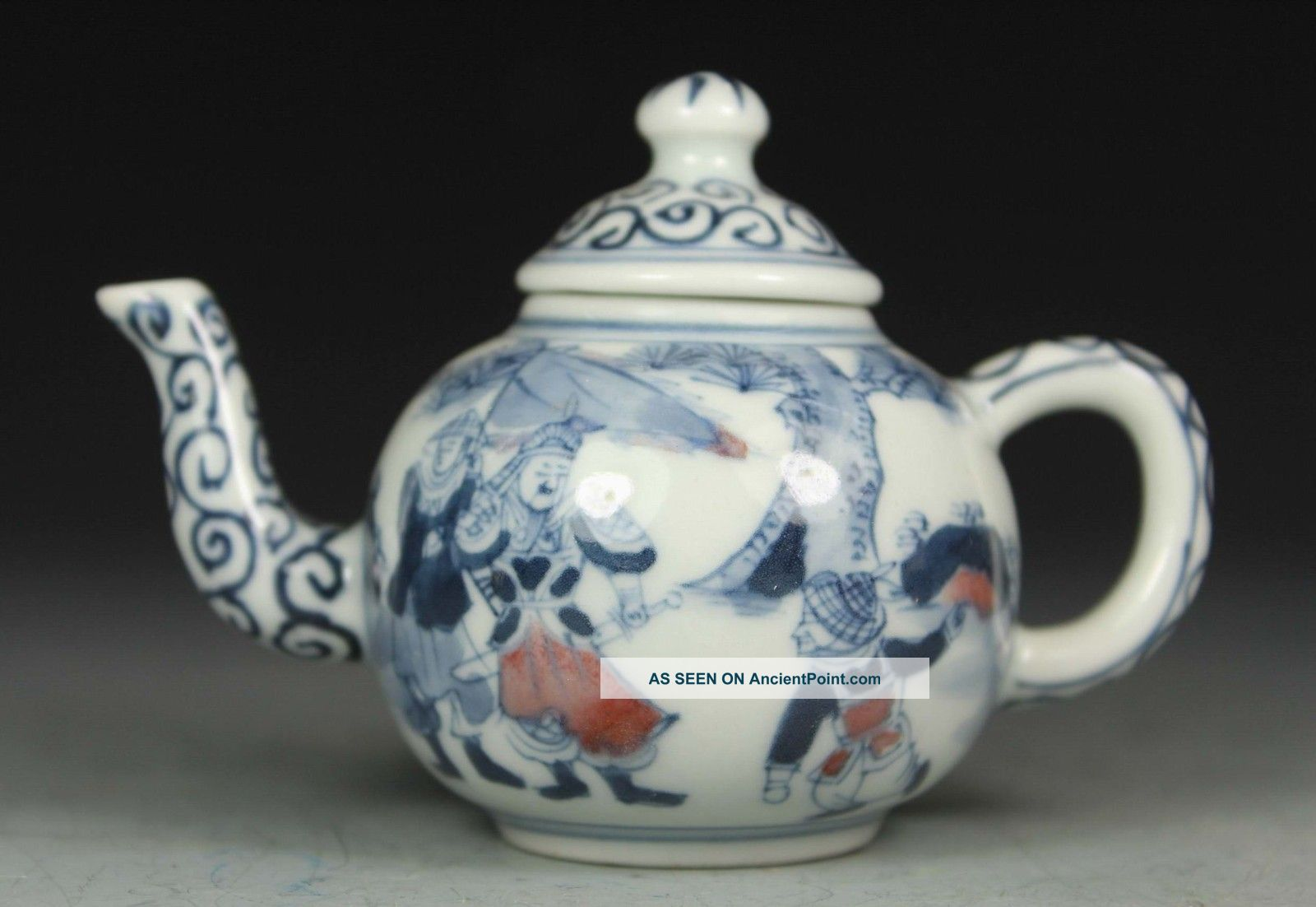 Chinese Old Porcelain Collectibles Decorated Handwork Painting Figure Tea Pot Porcelain photo