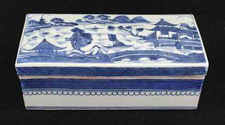 Antique Blue & White Canton China,  Export Porcelain - - - - - Rare: Brush Box photo