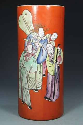 Asian Oriental Old Porcelain Collectibles Handwork Painting Figure Vase photo
