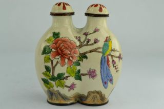 China Rare Collectibles Old Handwork Cloisonne Flower & Bird 2 Top Snuff Bottle photo