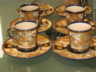 Antique Japanese Hand Painted Satsuma Porcelain Cups&saucers Signed photo