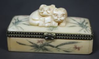 Chinese Old Bone Handwork Carving Pair Cat Jewel Box photo