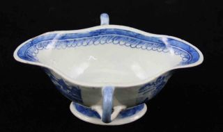 Antique Blue & White Canton China,  Export Porcelain - - Rare Dbl.  Handle Gravy Boat photo