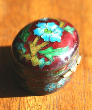 Small & Vintage,  Early - Mid 20th Century Chinese Cloisonné Hinged Ovular Pill Box photo