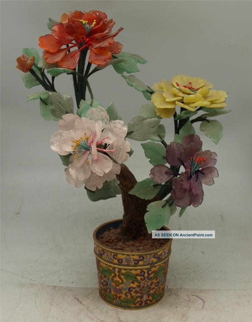 Cloisonne Urn Planter With Carved Hardstone Tree & Flowers - Must See - 34cm Jade/ Hardstone photo