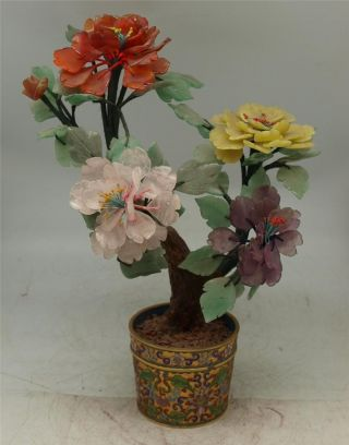 Cloisonne Urn Planter With Carved Hardstone Tree & Flowers - Must See - 34cm photo