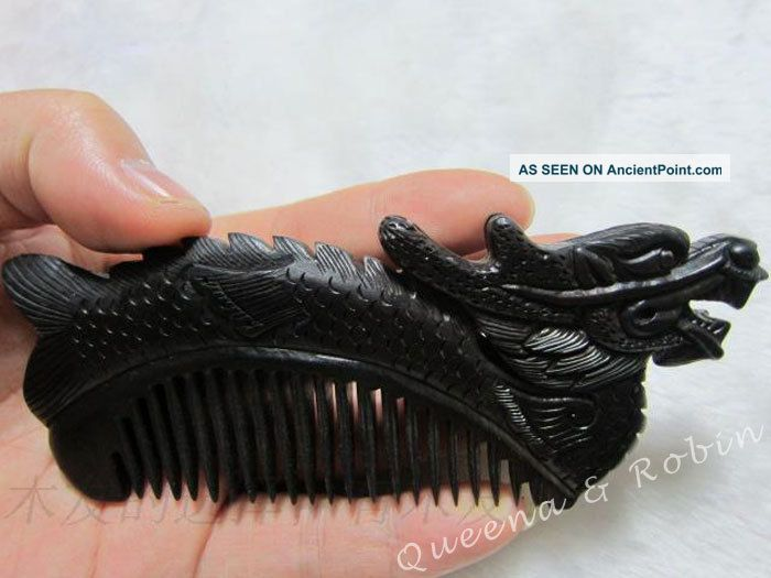 Chinese Blackwood Carved Statue Dragon Auspicious Wooden Comb Lucky Ebony Wood Buddha photo