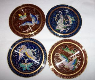 4 Vintage Cloisonne Coasters / Pin Dishes Butterflies photo