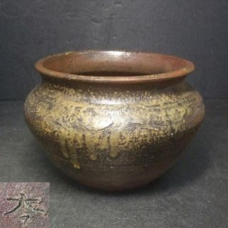 F719: Japanese Old Bizen Pottery Ware Flower Vase With Great Wabi - Sabi photo