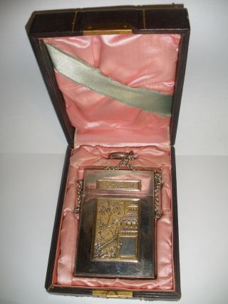 Exquisite Antique Chinese Fine Detailed Gold Wash Card Case In Box photo