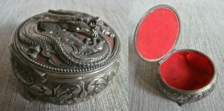 Unusual Vintage Silver P Chinese Dragon Ornate Trinket Jewellery Box photo