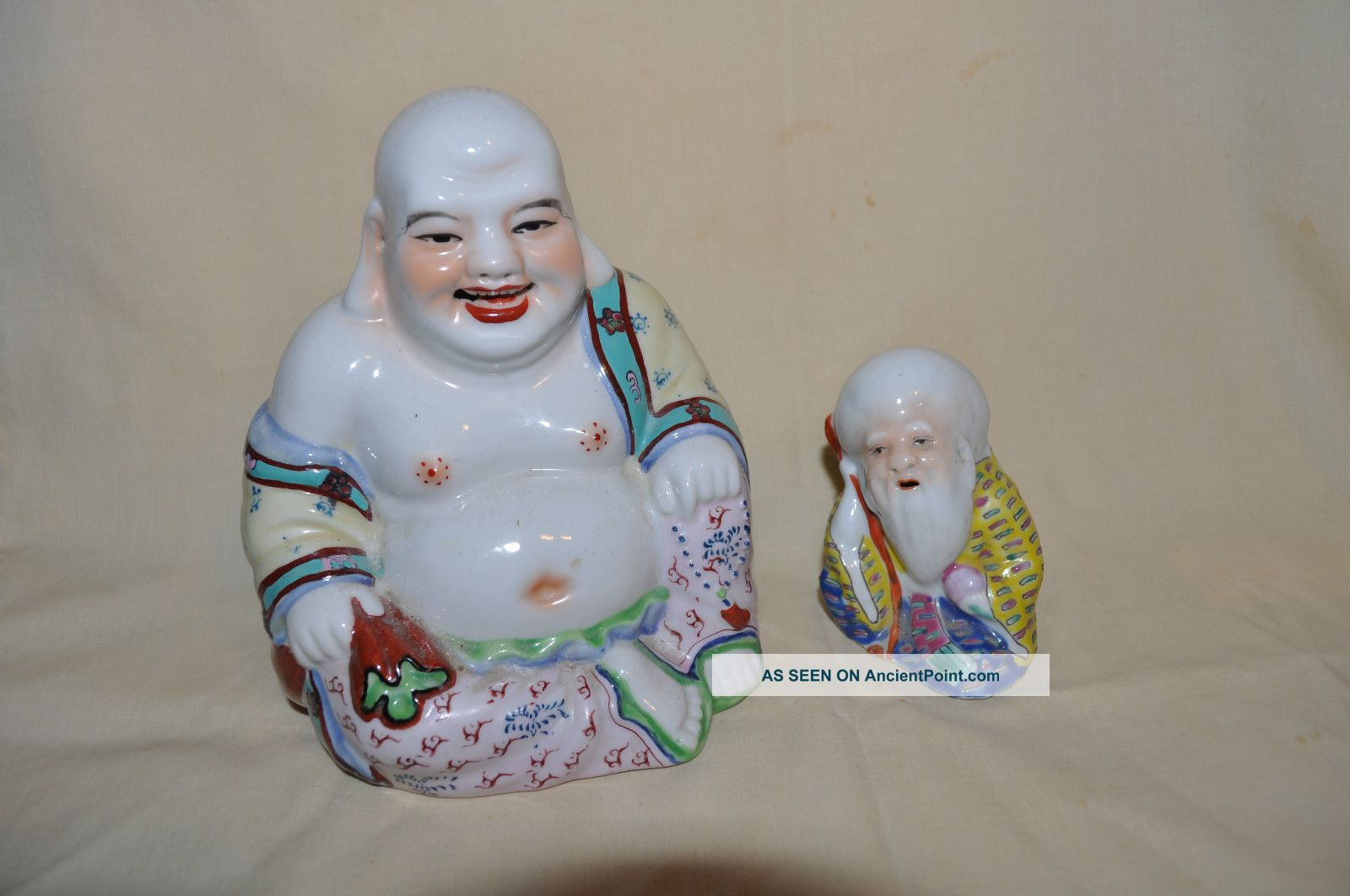 Vintage Antique Chinese Porcelain Famille Rose Laughing Buddha & Wise Old Man Buddha photo