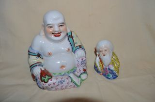 Vintage Antique Chinese Porcelain Famille Rose Laughing Buddha & Wise Old Man photo