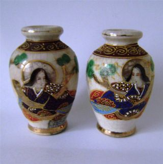 Vintage Japanese Satsuma Pair Of Small Vases Enamel Decoration Items photo