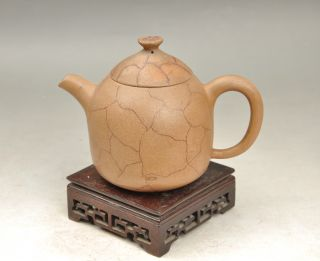 Antique 19th Century Chinese Yixing Teapot Painting Lines photo