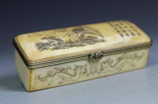 Chinese Old Bone Handwork Carving Monkey Jewel Box photo