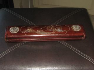 Early 1900s Rosewood & Mother Of Pearl Chinese Caligraphy Box photo