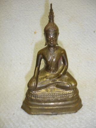 Vintage Brass Sand Cast Tibetan Buddha Statue 8