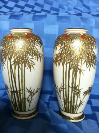 Antique 19th C Pair Of Satsuma Vases,  Very Rare,  6