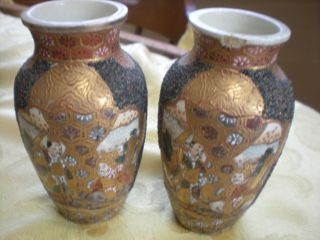 Pair Of Japanese Satsuma Mini Vases Antique Old photo