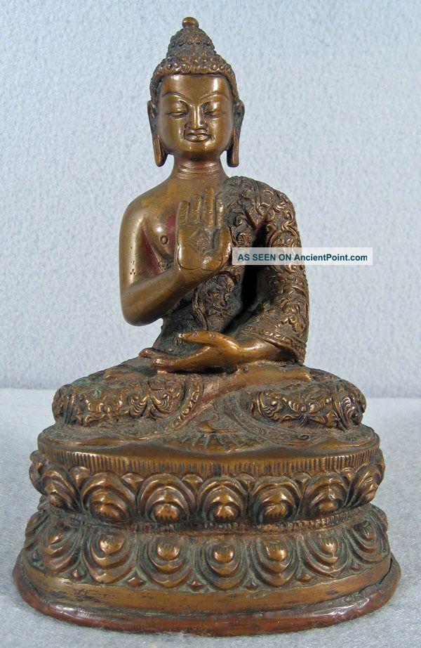 Chinese /tibetan Bronze Seated Buddha Buddha photo
