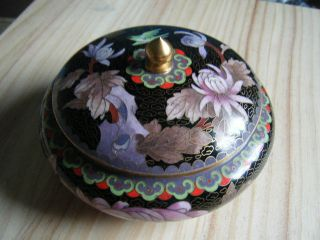 Vtg Cloisonne Lidded Bowl Black Ground Chrysanthemum And Bird Geometric Border photo