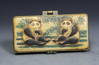 Chinese Handwork Carving Panda Old Bone Jewel Box photo