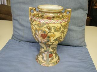 Antique Nippon Vase With Floral Design And Gold Beading And Gold Painted Handles photo