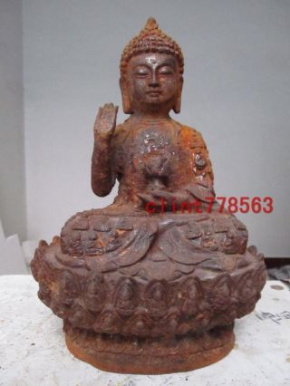 China Folk Old Iron Sit Amitayus Sakyamuni Buddha photo