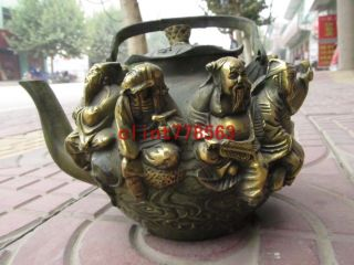 China Folk Favorites Old Bronze Ancient Myths The Eight Immortals Teapot 22 photo