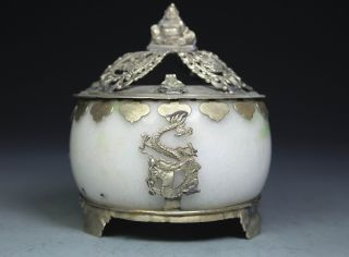 Chinese Handwork Dragon Buddha Old Jade Incense Burner photo