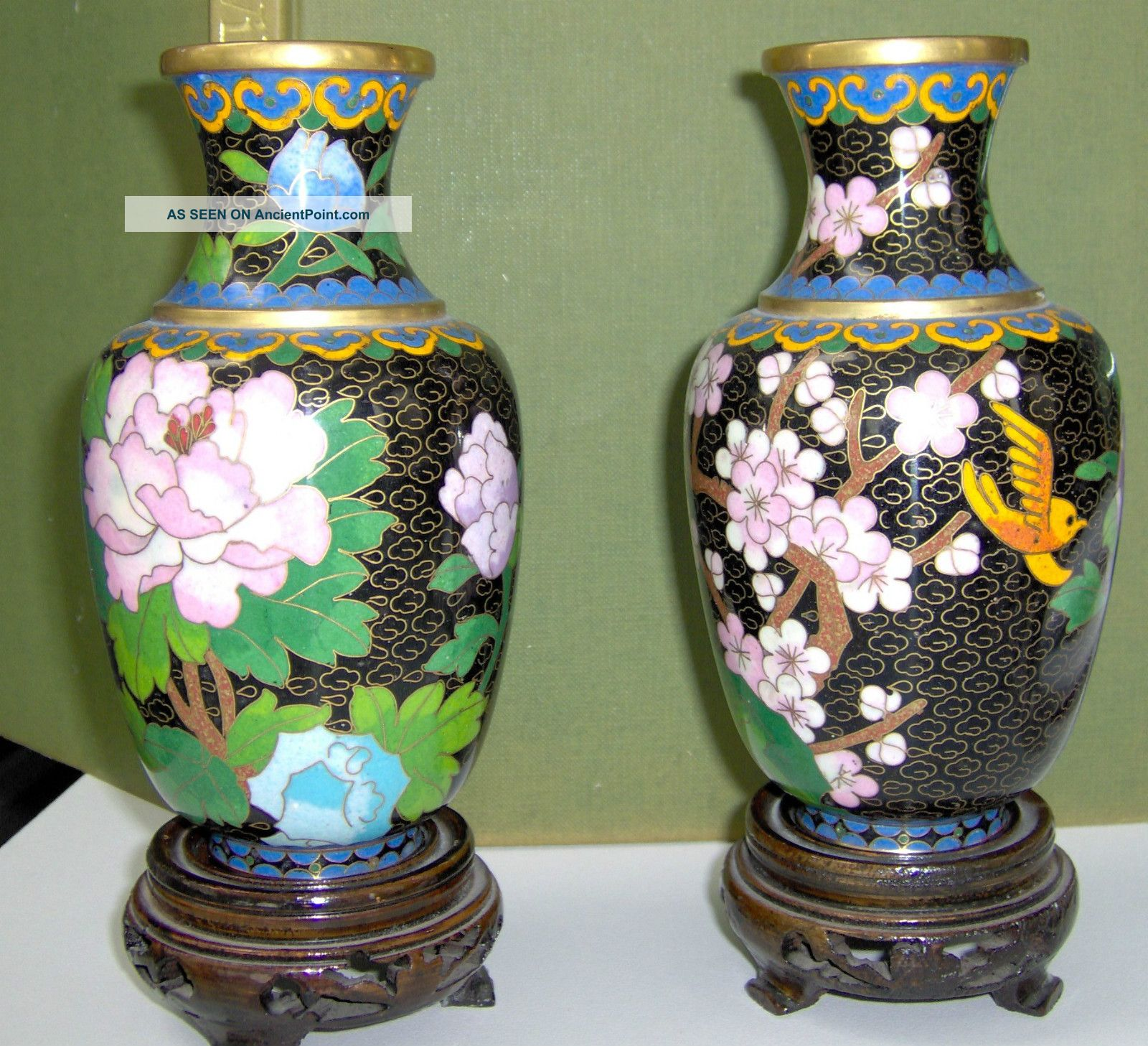 Matching Pair Of Chinese Cloisonne Vases Cloisonne photo