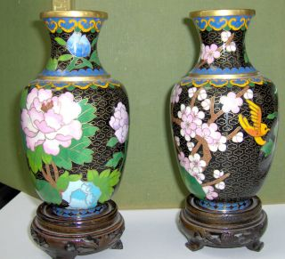 Matching Pair Of Chinese Cloisonne Vases photo