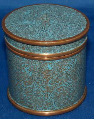 Unique Antique Chinese Round Box With Lid; Cloisonne In photo