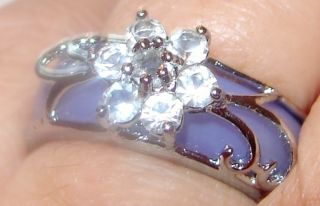 Gorgeous Lavender Jade Crysal Silver Ring. . .  8 photo